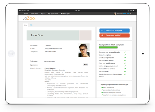 Create a job-winning CV with JoZoo