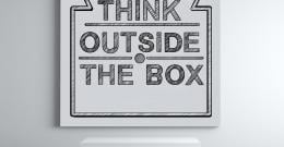 text urging to think out of the box
